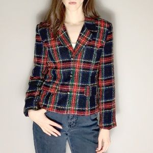 90s vintage plaid blazer